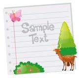 Papierschablone mit Rotwild und Baum Stockfoto