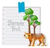 Papierschablone mit Tiger und Baum Lizenzfreies Stockfoto