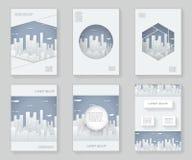 Papierschattenbild-Stadtlandschafts-Stadt Real Estate 3d über dekorativem Musterrahmen des Designschablonenzusammenfassungsdesign Lizenzfreie Stockfotos