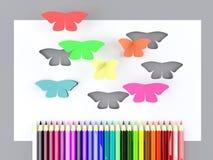 Papierschmetterlinge und bunte Bleistifte lizenzfreie abbildung