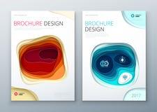 Papierschnitt-Broschürendesign Papier schnitzen abstrakte Abdeckung für Broschürenfliegerzeitschriften- oder -katalogdesign Rot,  stock abbildung