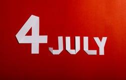 Papierschnitt des amerikanischen Unabhängigkeitstags am 4. Juli Lizenzfreie Stockfotos