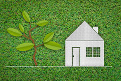 Papierschnitt des Hauses, Baum a auf grünem Gras des neuen Frühlinges Stockfoto