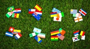 Papierschnitt von Flaggen für Fußballmeisterschaft 2014 Lizenzfreies Stockfoto