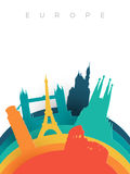 Papierschnitt-Weltmarksteine Reise-Europas 3d vektor abbildung