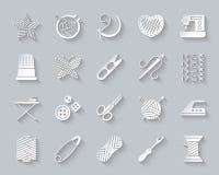 Papierschnittikonen-Vektorsatz der Näharbeit einfacher vektor abbildung