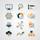 Papierschnittmenge der analytischen Ikonen der Daten Stockbilder