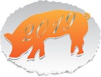 Papierschwein gezeichnet in Vektor für das neue Jahr lizenzfreie abbildung