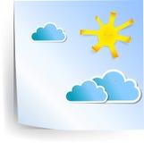 Papiersonne und Wolken Lizenzfreie Stockbilder