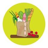 Papiertüte mit Brot, Milch, Wurst und Gemüse Auch im corel abgehobenen Betrag Stockfoto