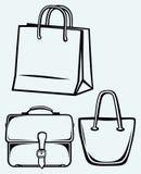 Papiertüte und Handtasche lizenzfreie abbildung