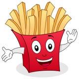 Papiertüte-Charakter mit Pommes-Frites Stockbild