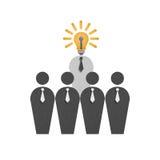 Papieru cięcie biznesmen z lampą w biznesie jest inteligencją m royalty ilustracja
