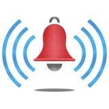 Papieru cięcie czerwony dzwon alarmowy z błękita sygnałem jest raźnym symbolem royalty ilustracja