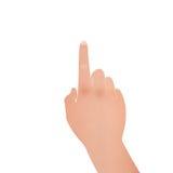 Papieru cięcie ręka z wskazywać symbol jest dotykiem ekranizować na whi Obraz Royalty Free