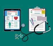 Papieru i pastylki pacjenta karty z dokumentami, stetoskop, pigułki, pióro pacjent karta ilustracja wektor
