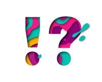 Papieru pytania okrzyka symbolu rżnięty znak Realistyczny 3D warstew papercut wielo- skutek ilustracja wektor