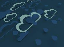 Papieru rżnięty projekt z chmurami Niebieskie niebo, chmury, deszcz ilustracja wektor