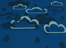 Papieru r?ni?ty projekt z chmurami Niebieskie niebo, chmury, deszcz ilustracja wektor