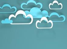 Papieru r?ni?ty projekt z chmurami Niebieskie niebo, chmury ilustracji