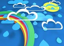 Papieru r?ni?ty projekt z chmurami pada s?o?ce i t?cz? royalty ilustracja