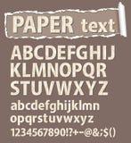 Papiervektorschrifttyp. Zeichen, Zahlen und orthograph Stockbild