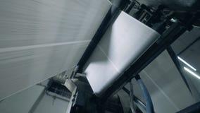 Papierverschieben auf einem Fabrikförderer, rollende Linie stock video