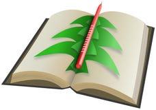 Papierweihnachtsbaum an geöffnetem Buch mit Kerze Vektor Abbildung