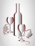 Papierweinlistendesign Rebzusammenfassung Vektor Lizenzfreie Stockfotos