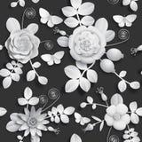 Papierwilde rosafarbene Blumen des handwerks 3D, Hagebuttenbeeren und nahtloses Muster des Schmetterlinges Vektorillustrationsarc Stockfotografie