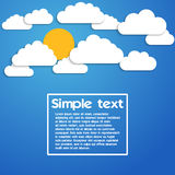 Papierwolken auf einem blauen Hintergrund Lizenzfreie Abbildung