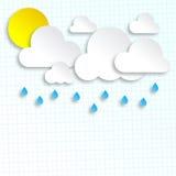 Papierwolken und Sun Lizenzfreie Stockbilder