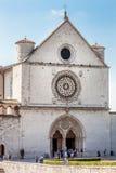 Papieska bazylika St Francis Assisi Fasadowy kościół Włochy obrazy stock