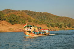 papikondalu和河godavari,印度视图  免版税图库摄影