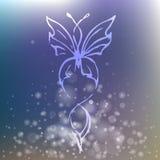Papillon élégant de scintillement sur le fond brouillé Photographie stock libre de droits