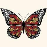 Papillon abstrait avec des ornements des fleurs de roses Illustration de Vecteur
