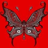 Papillon abstrait de vecteur sur un fond rouge Images libres de droits