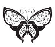 Papillon abstrait ornementé de silhouette Photographie stock