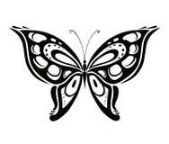Papillon abstrait ornementé de silhouette Images stock