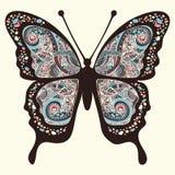 Papillon avec des modèles S'envole oriental multicolore Illustration Libre de Droits