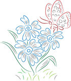 Papillon avec la fleur illustration libre de droits