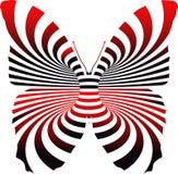 Papillon avec la ligne illustration rouge et noire d'effet images stock