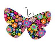 Papillon avec le fond coloré de vecteur de fleurs Images libres de droits
