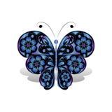 Papillon bleu avec le modèle floral illustration libre de droits