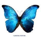 Papillon bleu d'isolement de logo géométrique comme conception illustration stock