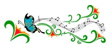Papillon bleu et fleurs rouges Photos libres de droits