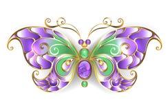 Papillon d'or avec le papillon d'or d'améthyste illustration stock
