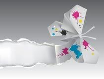 Papillon d'origami avec l'encre déchirant le papier Image libre de droits
