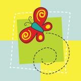 Papillon de bande dessinée pour la carte d'anniversaire Photo stock