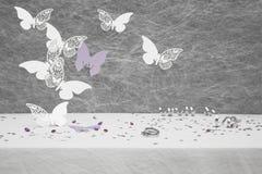 Papillon de carte d'endroit de mariage Image stock